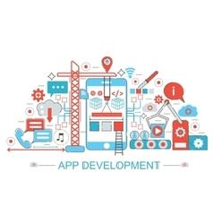 Modern Flat thin Line design App development vector image