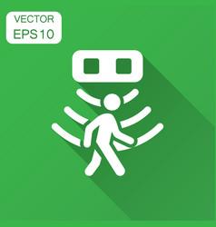 motion sensor icon in flat style sensor waves vector image