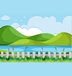 Nature scene with river and hills vector