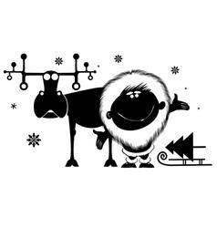 Northman and reindeer vector image