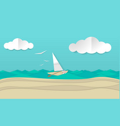 paper craft art of a sailboat ship vector image