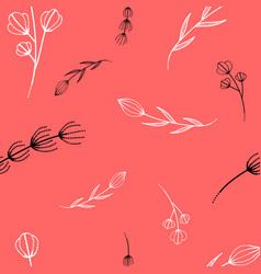 pattern with branches on a pastel pink background vector image