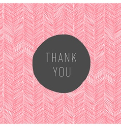 Pink colored thank you card vector