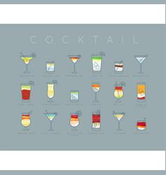 Poster cocktails flat menu grayish blue vector