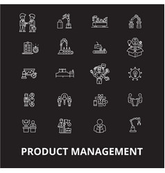 project management icons editable line icons vector image