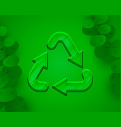Recycling sign triangular looped arrows green vector
