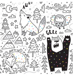 Seamless pattern cute animals - fox bear owl vector