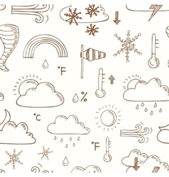 seamless pattern doodle sketch weather icons vector image