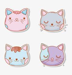 set cats head pet animal vector image