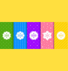 set colorful seamless decorative background vector image