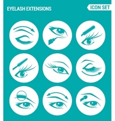 Set of round icons white Eyelash extensions vector