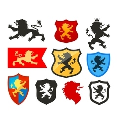 Shield with lion heraldry logo coat vector