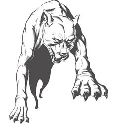 silhouette jumping aggressive pitbull dog front vi vector image