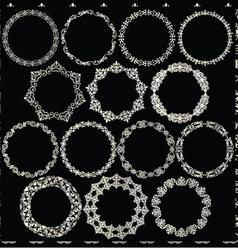 Silver circle frames vector