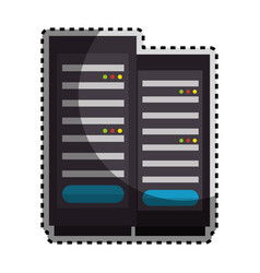 Sticker color silhouette with tower server vector