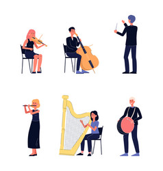 symphony orchestra musician people - flat isolated vector image