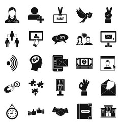 Talk icons set simple style vector