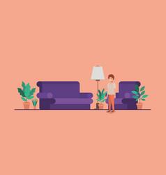 Teenager boy in livingroom vector