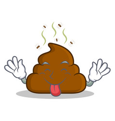 Tongue out poop emoticon character cartoon vector