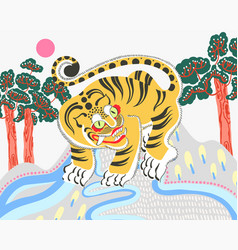 traditional korean painting of vector image