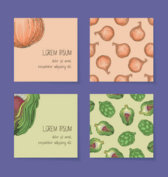 Vegetable business cards template collection vector