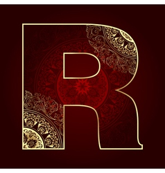 Vintage alphabet with floral swirls letter R vector