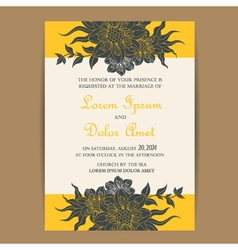 Wedding invite yellow with dark grey flowers vector