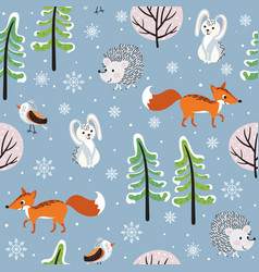 winter forest background vector image