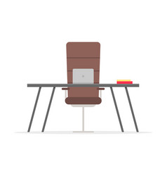 work place with table notebook on desktop chair vector image