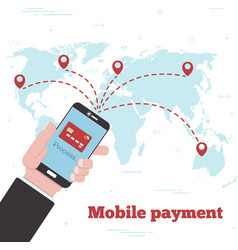 World mobile payment concept in line art style vector