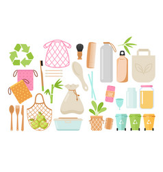 zero waste and eco friendly items flat vector image