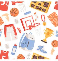 Basketball sportswear and ball in net hoop vector
