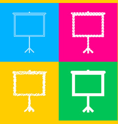 blank projection screen four styles of icon on vector image