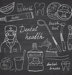 Dental health doodles icons set Hand drawn sketch vector image vector image