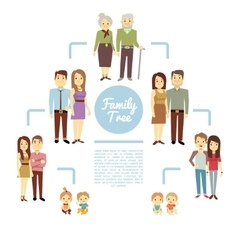 Family tree with people icons of four generations vector image
