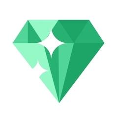 Flat design of Green gemstone vector image