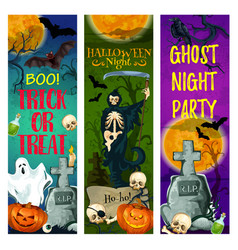 halloween ghost party banner of october holiday vector image