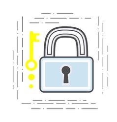 padlock and key modern flat line vector image vector image