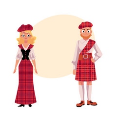 scottish couple in traditional national costumes vector image vector image