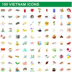 100 vietnam icons set cartoon style vector image vector image