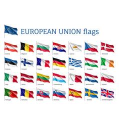 set waving flags of eu vector image