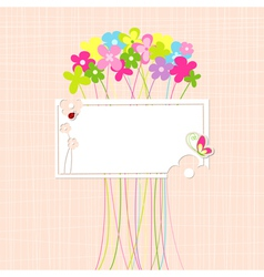 Springtime Colorful Flower and Butterfly Greeting vector image vector image