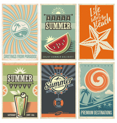summer retro posters collection vector image vector image