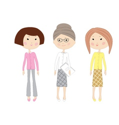 Three drawn cartoon business women vector image vector image