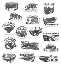 asphalt road highway and speed freeway symbol set vector image vector image