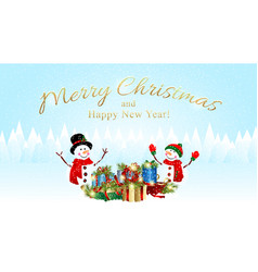 Christmas background with snowman and xmas vector