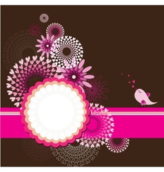 greeting card template with floral background vector image vector image