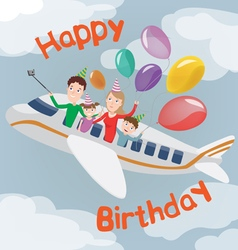 Happy Birthday Card Family in Plane Happy Family vector image