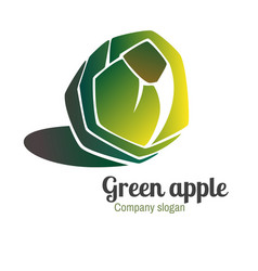 logo with green apple vector image vector image