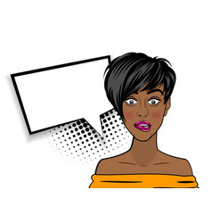 pop art shocked sexy african american black woman vector image vector image